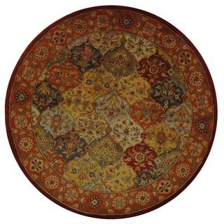 Handmade Heritage Bakhtiari Multi/Red Wool Area Rug (6' Round)