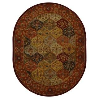 Safavieh Handmade Heritage Bakhtiari Multi/ Red Wool Rug (4'6 x 6'6 Oval)