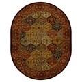 Handmade Heritage Bakhtiari Multi/ Red Wool Rug (4'6 x 6'6 Oval)