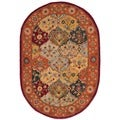 Handmade Heritage Bakhtiari Multi/ Red Wool Rug (4&#39;6 x 6&#39;6 Oval)