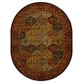 "Traditional Handmade Heritage Bakhtiari Multi/Red Wool Rug (7'6"" x 9'6"" Oval)"