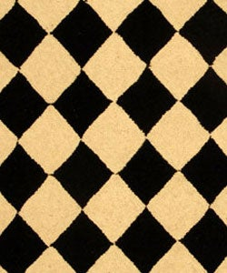 Hand-hooked Diamond Black/ Ivory Wool Runner (2'6 x 4')