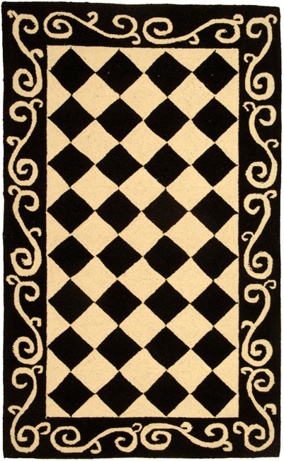Safavieh Hand-hooked Diamond Black/ Ivory Wool Rug (2'9 x 4'9)