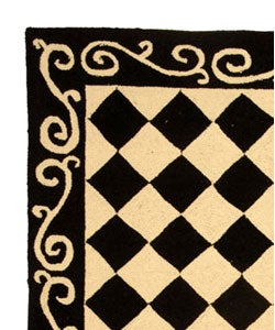 Hand-hooked Diamond Black/ Ivory Wool Rug (2'9 x 4'9)