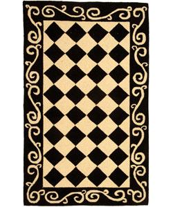 Safavieh Hand-hooked Diamond Black/ Ivory Wool Rug (2'9 x 4'9)