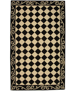 Hand-hooked Diamond Black/ Ivory Wool Rug (5'3 x 8'3)