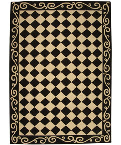 Hand-hooked Diamond Black/ Ivory Wool Rug (6' x 9')