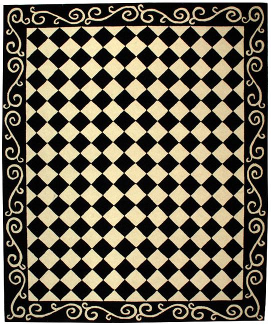 Safavieh Hand-hooked Diamond Black/ Ivory Wool Rug (7'9 x 9'9)