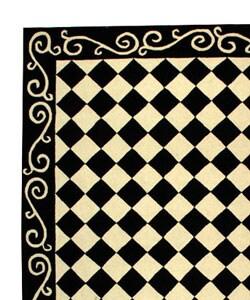 Hand-hooked Diamond Black/ Ivory Wool Rug (8'9 x 11'9)