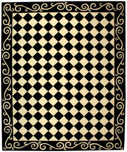 Hand-hooked Diamond Black/ Ivory Wool Rug (8'9 x 11'9)
