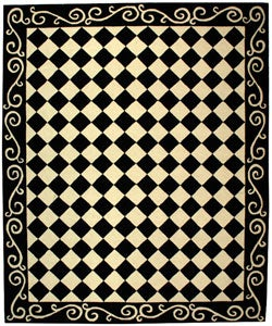Safavieh Hand-hooked Diamond Black/ Ivory Wool Rug (8'9 x 11'9)