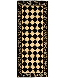 Hand-hooked Diamond Black/ Ivory Wool Runner (2'6 x 6')