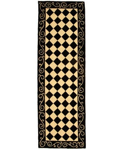Hand-hooked Diamond Black/ Ivory Wool Runner (2'6 x 8')