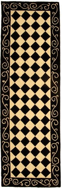 Safavieh Hand-hooked Diamond Black/ Ivory Wool Runner (2'6 x 10')