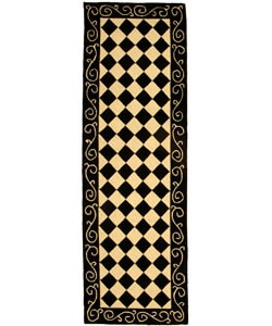 Hand-hooked Diamond Black/ Ivory Wool Runner (2'6 x 12')