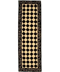 Safavieh Hand-hooked Diamond Black/ Ivory Wool Runner (2'6 x 12')