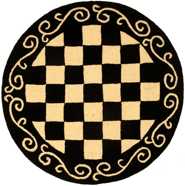 Safavieh Hand-hooked Diamond Black/ Ivory Wool Rug (5'6 Round)