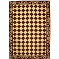 Hand-hooked Diamond Brown/ Ivory Wool Rug (6' x 9')