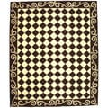 Hand-hooked Diamond Brown/ Ivory Wool Rug (7'9 x 9'9)
