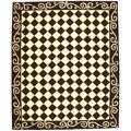 Hand-hooked Diamond Brown/ Ivory Wool Rug (8'9 x 11'9)