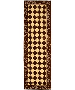 Hand-hooked Diamond Brown/ Ivory Wool Runner (2'6 x 8')