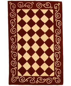 Safavieh Hand-hooked Diamond Burgundy/ Ivory Wool Runner (2'6 x 4')
