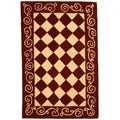 Hand-hooked Diamond Burgundy/ Ivory Wool Runner (2'6 x 4')
