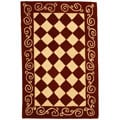 Safavieh Hand-hooked Diamond Burgundy/ Ivory Wool Runner (2'6 x 4')