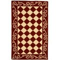 Hand-hooked Diamond Burgundy/ Ivory Wool Rug (2'9 x 4'9)