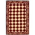 Hand-hooked Diamond Burgundy/ Ivory Wool Rug (3'9 x 5'9)