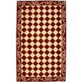 Safavieh Hand-hooked Diamond Burgundy/ Ivory Wool Rug (5'3 x 8'3)