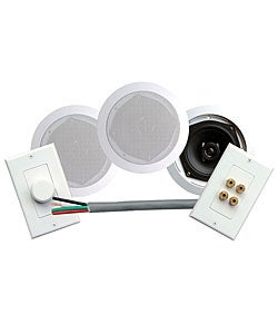 "Pyle PHSKIT5 Pair of 5.25"" In-ceiling Speakers Kit W/ Volume Control, Speaker Wall Plate & 50 FT Wire"