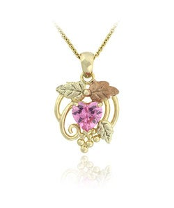 Icz Stonez Gold over Sterling Silver Leaf Pink Cubic Zirconia Pendant