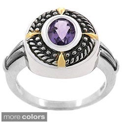Glitzy Rocks Sterling Silver Rope Design Oxidized Gemstone Ring
