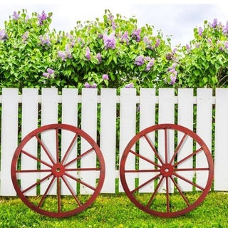 The Gray Barn Zephyr Grange Wooden Wagon Wheel with Antique Red Finish (Set of 2)