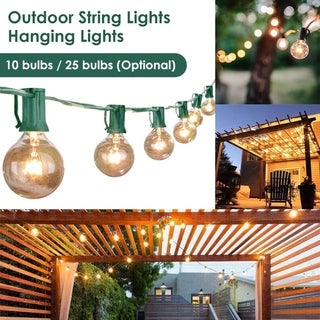 3.15m/7.65m LED String Lights Outdoor Electric Globe Hanging Lights with 10/25 Bulbs for Garden Pergola Decks