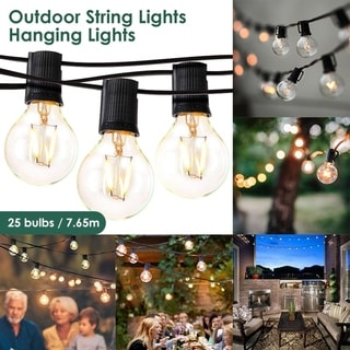 7.65m 25LED Light String Lights Outdoor Hanging Lights for Garden Pergola Decks Cafe Market with 25 Bulbs - 301 inch length