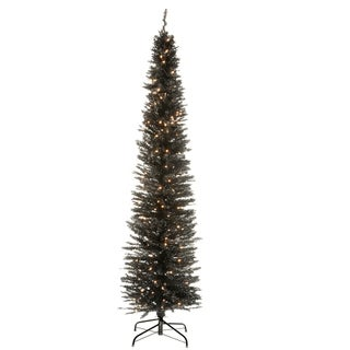 7 ft. Black Tinsel Tree with Clear Lights
