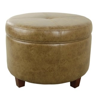 HomePop Large Leatherette Storage Ottoman - Distressed Brown Faux Leather