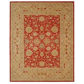 Handmade Mahal Ancestry Red/ Ivory Wool Rug (9' x 12')