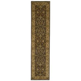 Handmade Sultanabad Charcoal Grey/ Ivory Wool Runner (2'3 x 10')