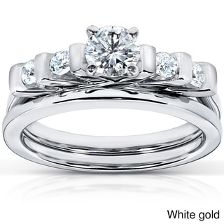 Annello 14k Gold 1/2ct TDW Princess Cut 5-Stone Bar Diamond Bridal Set (HI, I1-I2)