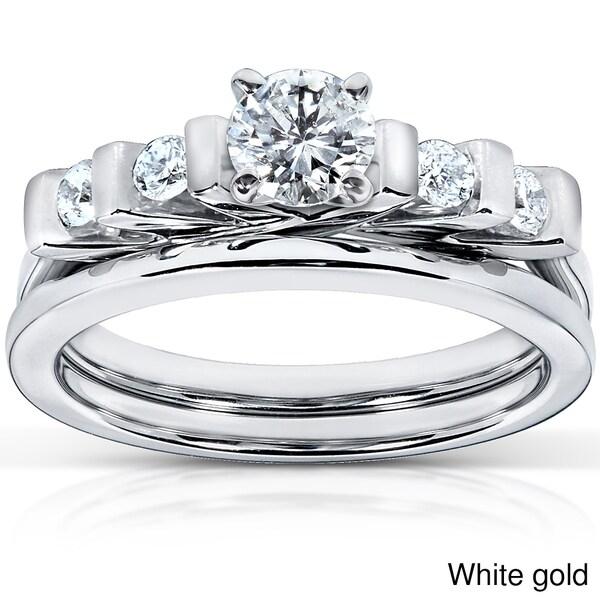 Annello 14k Gold 1/2ct TDW Princess Cut 5-Stone Bar Diamond Bridal Set (HI, I1-I2)