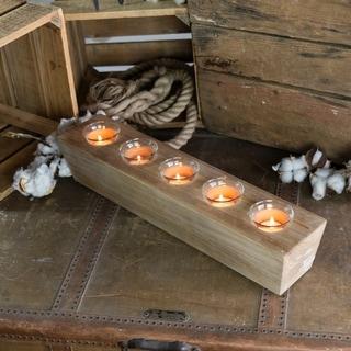 Wooden sugar mold votive holder