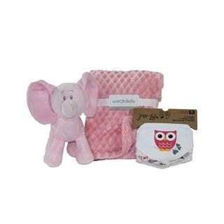 5 Piece Plush Elephant Baby Blanket Gift Set