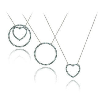 DB Designs Silver 1ct TDW Blue Diamond Heart and Circle Necklace