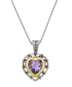 Glitzy Rocks Sterling Silver Amethyst Heart Necklace