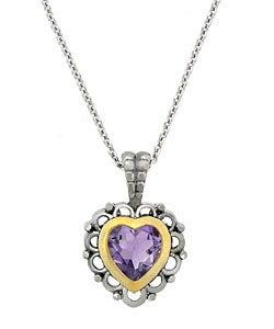 Glitzy Rocks Sterling Silver Amethyst Heart Necklace