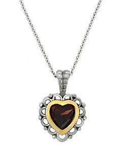 Glitzy Rocks Sterling Silver Heart Garnet Necklace