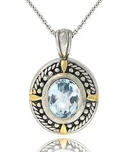 Glitzy Rocks Sterling Silver Rope Design Oxidized Blue Topaz Necklace